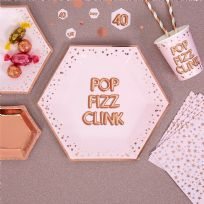 Glitz & Glamour Pink & Rose Gold Large Pop Fizz Plates (8)